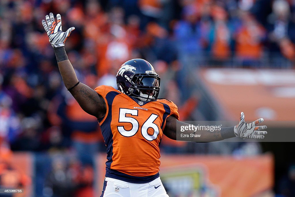 <a gi-track='captionPersonalityLinkClicked' href=/galleries/search?phrase=Nate+Irving&family=editorial&specificpeople=4753462 ng-click='$event.stopPropagation()'>Nate Irving</a> #56 of the Denver Broncos celebrates after a missed field goal by the San Diego Chargers during the AFC Divisional Playoff Game at Sports Authority Field at Mile High on January 12, 2014 in Denver, Colorado.
