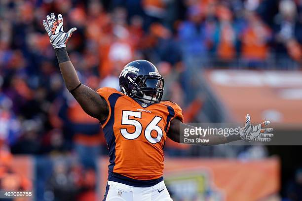 Nate Irving of the Denver Broncos celebrates after a missed field goal by the San Diego Chargers during the AFC Divisional Playoff Game at Sports...