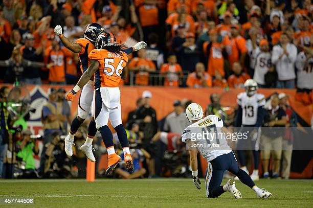 Nate Irving of the Denver Broncos celebrates knocking Philip Rivers of the San Diego Chargers to the ground in the third quarter The Denver Broncos...