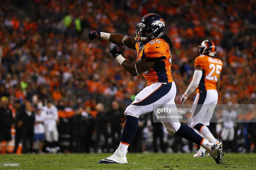 <a gi-track='captionPersonalityLinkClicked' href=/galleries/search?phrase=Nate+Irving&family=editorial&specificpeople=4753462 ng-click='$event.stopPropagation()'>Nate Irving</a> #56 of the Denver Broncos reacts in the first quarter against the Oakland Raiders at Sports Authority Field at Mile High on September 23, 2013 in Denver, Colorado.