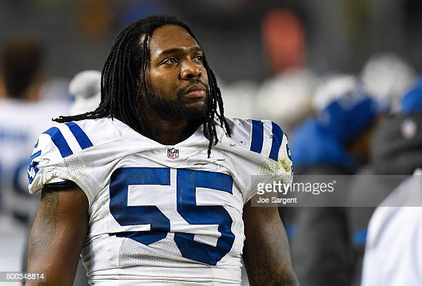 Nate Irving of the Indianapolis Colts looks on during the game against the Pittsburgh Steelers at Heinz Field on December 6 2015 in Pittsburgh...