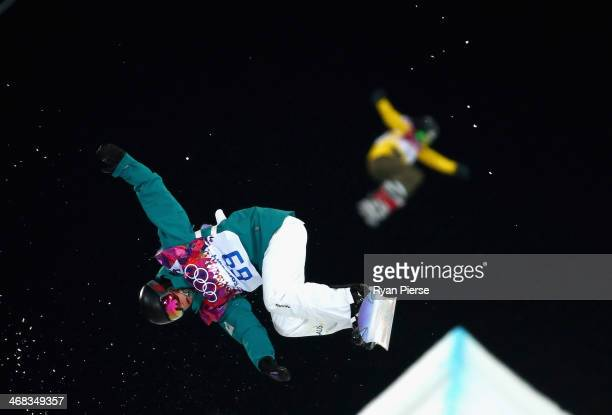 Nate Johnstone of Australia jumps in the Snowboard Halfpipe official training during day three of the Sochi 2014 Winter Olympics at Rosa Khutor...