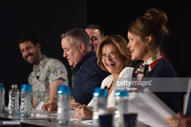 Nate Jones John Roberts Larry Murphy Jessica Walter and Amber Nash speak onstage during Saturday Morning Cartoons in the ATT Studio at the 2017...