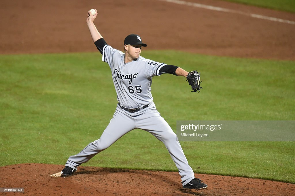Nate Jones #65 of the Chicago White Sox pitches the inning for the win during a baseball game against the Baltimore Orioles at Oriole Park at Camden Yards on April 30, 2016 in Baltimore, Maryland. The White sox won 8-7.