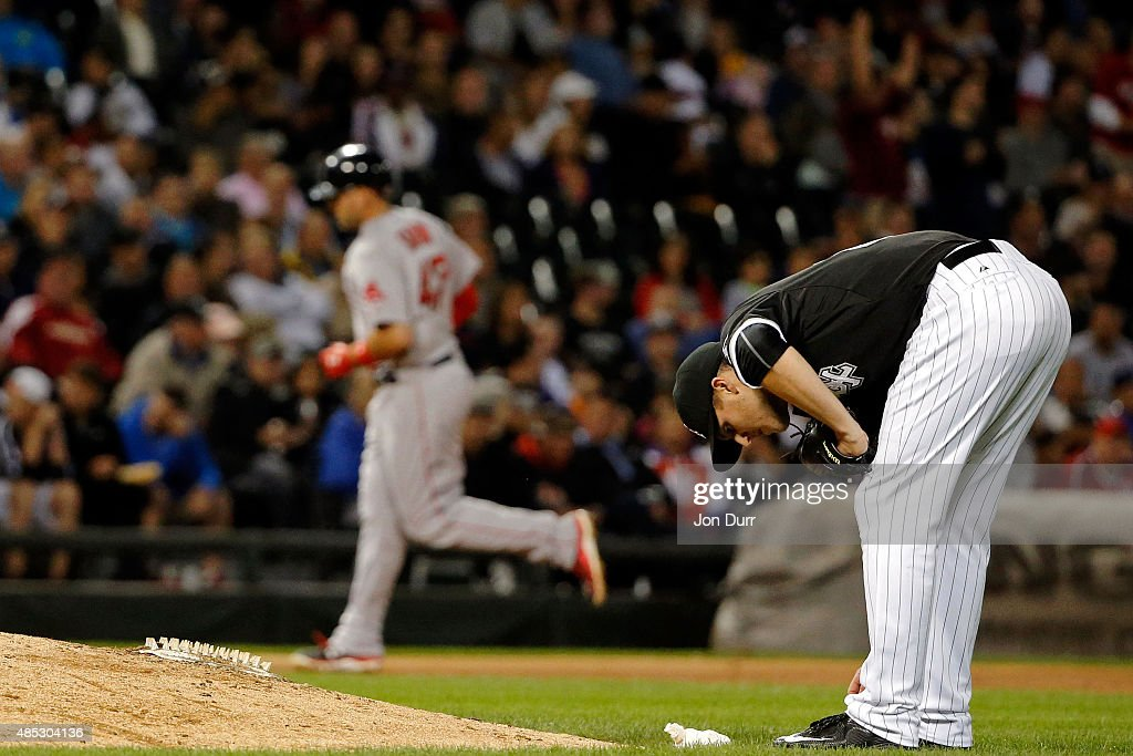 Nate Jones #65 of the Chicago White Sox reacts after Travis Shaw #47 of the Boston Red Sox hit a two-run home run during the eighth inning at U.S. Cellular Field on August 26, 2015 in Chicago, Illinois.