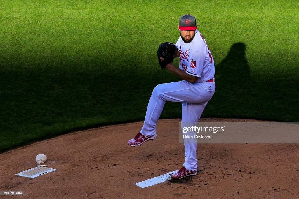 Nate Karns #55 of the Kansas City Royals warms up before the game against the Baltimore Orioles at Kauffman Stadium on May 13, 2017 in Kansas City, Missouri. Players are wearing pink to celebrate Mother's Day weekend and support breast cancer awareness.