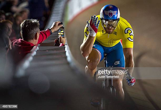 Nate Koch of USA in action during the 200m flying TT during day five of the London Six Day Race at the Lee Valley Velopark on October 22 2015 in...