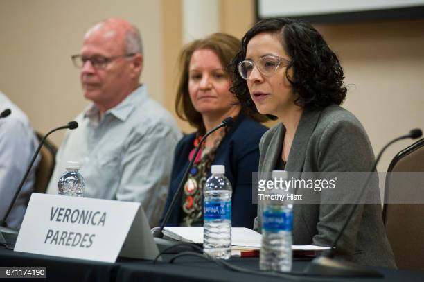 Nate Kohn Julie Turnock and Veronica Paredes attend a panel discussion at Ebertfest 2017 on April 21 2017 in Champaign Illinois