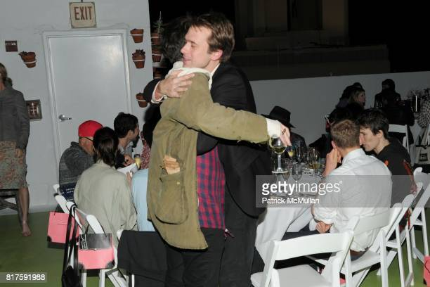 Nate Lowman and Christopher Bollen attend INTERVIEW LVMH FENDI Art Basel Dinner at Solarium on December 2 2010 in Miami Florida