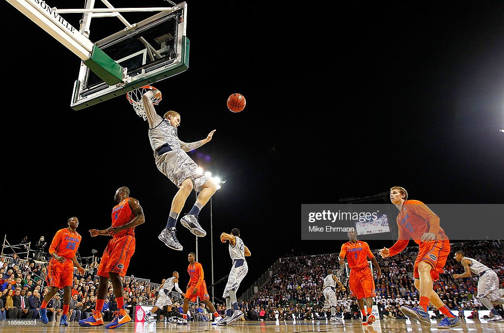 Nate Lubick #34 of the Georgetown Hoyas dunks during the Navy-Marine Corps Classic against the Florida Gators aboard the USS Bataan at Mayport Naval Air Station on November 9, 2012 in Jacksonville, Florida.