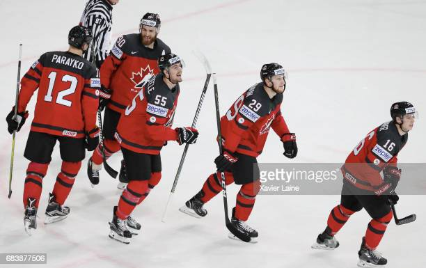 PARIS FRANCE MAY Nate Mackinnon Mark Scheifele Ryan O Reilly Mitch Marner and Colton Parayko of Canada celebrate a goal during the 2017 IIHF Ice...