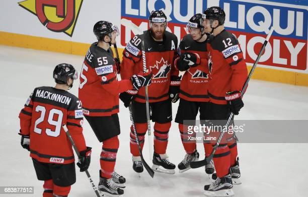 Nate Mackinnon Mark Scheifele Ryan O Reilly Mitch Marner and Colton Parayko of Canada celebrate a goal during the 2017 IIHF Ice Hockey World...