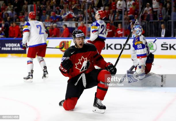 Nate Mackinnon of Canada celebrates after he scores the 2nd goal during the 2017 IIHF Ice Hockey World Championship semi final game between Canada...
