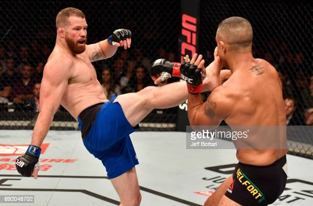 Nate Marquardt kicks Vitor Belfort of Brazil in their middleweight bout during the UFC 212 event at Jeunesse Arena on June 3 2017 in Rio de Janeiro...