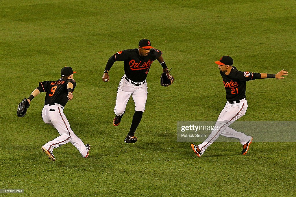 <a gi-track='captionPersonalityLinkClicked' href=/galleries/search?phrase=Nate+McLouth&family=editorial&specificpeople=536572 ng-click='$event.stopPropagation()'>Nate McLouth</a> #9 of the Baltimore Orioles, Adam Jones #10 and <a gi-track='captionPersonalityLinkClicked' href=/galleries/search?phrase=Nick+Markakis&family=editorial&specificpeople=614708 ng-click='$event.stopPropagation()'>Nick Markakis</a> #21 celebrate after defeating the New York Yankees at Oriole Park at Camden Yards on June 30, 2013 in Baltimore, Maryland. The Baltimore Orioles won, 4-2.