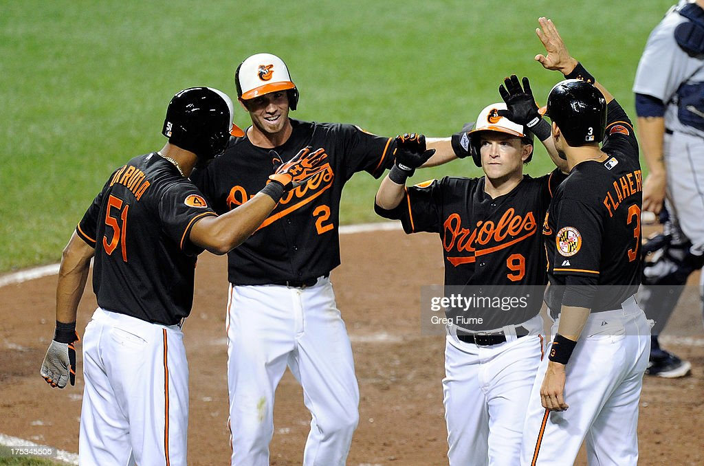 <a gi-track='captionPersonalityLinkClicked' href=/galleries/search?phrase=Nate+McLouth&family=editorial&specificpeople=536572 ng-click='$event.stopPropagation()'>Nate McLouth</a> #9 of the Baltimore Orioles celebrates with <a gi-track='captionPersonalityLinkClicked' href=/galleries/search?phrase=Ryan+Flaherty&family=editorial&specificpeople=4412528 ng-click='$event.stopPropagation()'>Ryan Flaherty</a> #3, <a gi-track='captionPersonalityLinkClicked' href=/galleries/search?phrase=J.J.+Hardy&family=editorial&specificpeople=216446 ng-click='$event.stopPropagation()'>J.J. Hardy</a> #2 and Henry Urrutia #51 after hitting a grand slam in the sixth inning against the Seattle Mariners at Oriole Park at Camden Yards on August 2, 2013 in Baltimore, Maryland. Baltimore won the game 11-8.