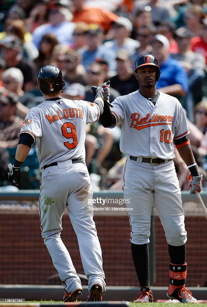 <a gi-track='captionPersonalityLinkClicked' href=/galleries/search?phrase=Nate+McLouth&family=editorial&specificpeople=536572 ng-click='$event.stopPropagation()'>Nate McLouth</a> #9 of the Baltimore Orioles is congratulated by Adam Jones #10 after McLouth scored in the eighth inning against the San Francisco Gaints at AT&T Park on August 11, 2013 in San Francisco, California. The Orioles won the game 10-2.
