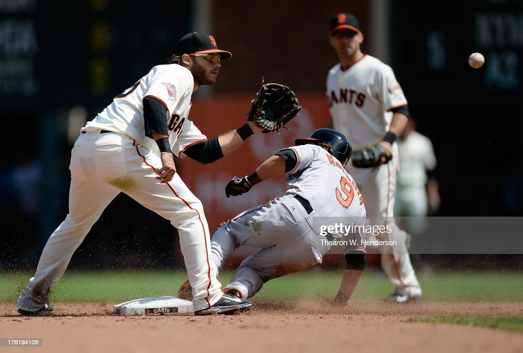 <a gi-track='captionPersonalityLinkClicked' href=/galleries/search?phrase=Nate+McLouth&family=editorial&specificpeople=536572 ng-click='$event.stopPropagation()'>Nate McLouth</a> #9 of the Baltimore Orioles steals second base base beating the throw down to <a gi-track='captionPersonalityLinkClicked' href=/galleries/search?phrase=Brandon+Crawford&family=editorial&specificpeople=5580312 ng-click='$event.stopPropagation()'>Brandon Crawford</a> #35 of the San Francisco Giants in the sixth inning at AT&T Park on August 11, 2013 in San Francisco, California.