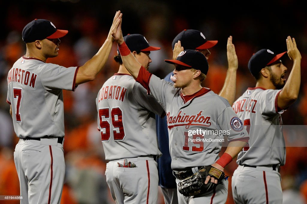 <a gi-track='captionPersonalityLinkClicked' href=/galleries/search?phrase=Nate+McLouth&family=editorial&specificpeople=536572 ng-click='$event.stopPropagation()'>Nate McLouth</a> #15 of the Washington Nationals celebrates with his teammates after the Nationals defeated the Baltimore Orioles 6-2 during a game at Oriole Park at Camden Yards on July 9, 2014 in Baltimore, Maryland.
