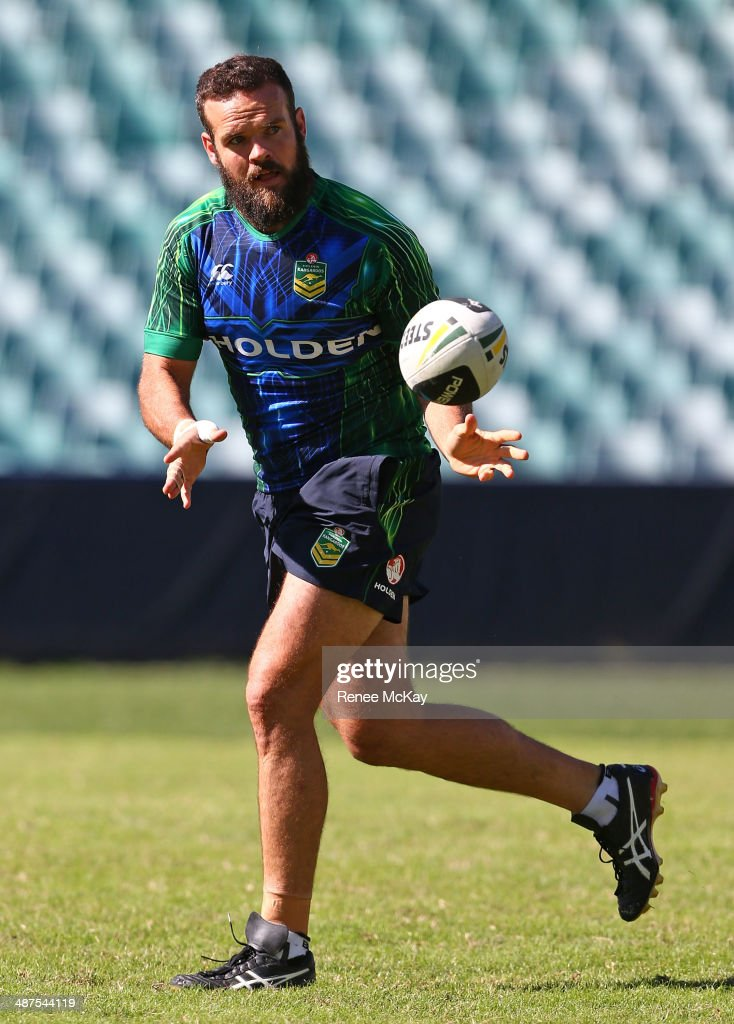 <a gi-track='captionPersonalityLinkClicked' href=/galleries/search?phrase=Nate+Myles&family=editorial&specificpeople=546460 ng-click='$event.stopPropagation()'>Nate Myles</a> in action during an Australian Kangaroos Captain's Run at Allianz Stadium on May 1, 2014 in Sydney, Australia.