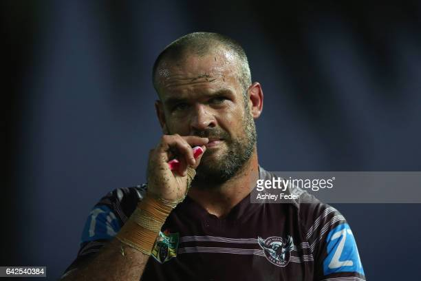 Nate Myles of the Sea Eagles looks on after the game during the NRL Trial match between the Manly Warringah Sea Eagles and Sydney Roosters at Central...