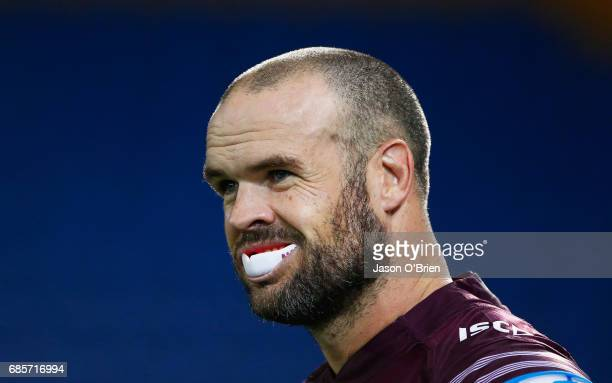 Nate Myles of the Sea Eagles looks on during the round 11 NRL match between the Gold Coast Titans and the Manly Sea Eagles at Cbus Super Stadium on...