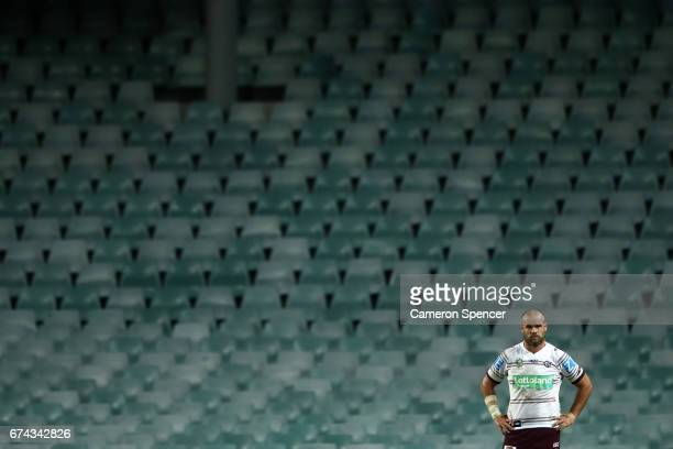 Nate Myles of the Sea Eagles looks on during the round nine NRL match between the South Sydney Rabbitohs and the Manly Sea Eagles at Allianz Stadium...