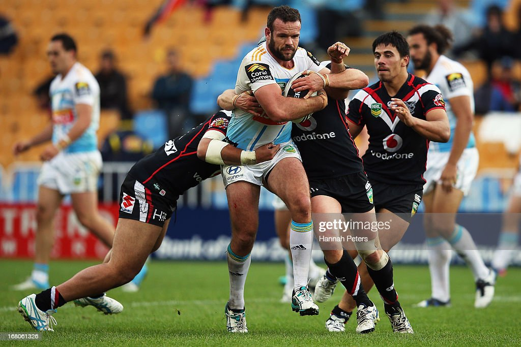 Nate Myles of the Titans charges forward during the round eight NRL match between the New Zealand Warriors and the Gold Coast Titans at Mt Smart Stadium on May 5, 2013 in Auckland, New Zealand.