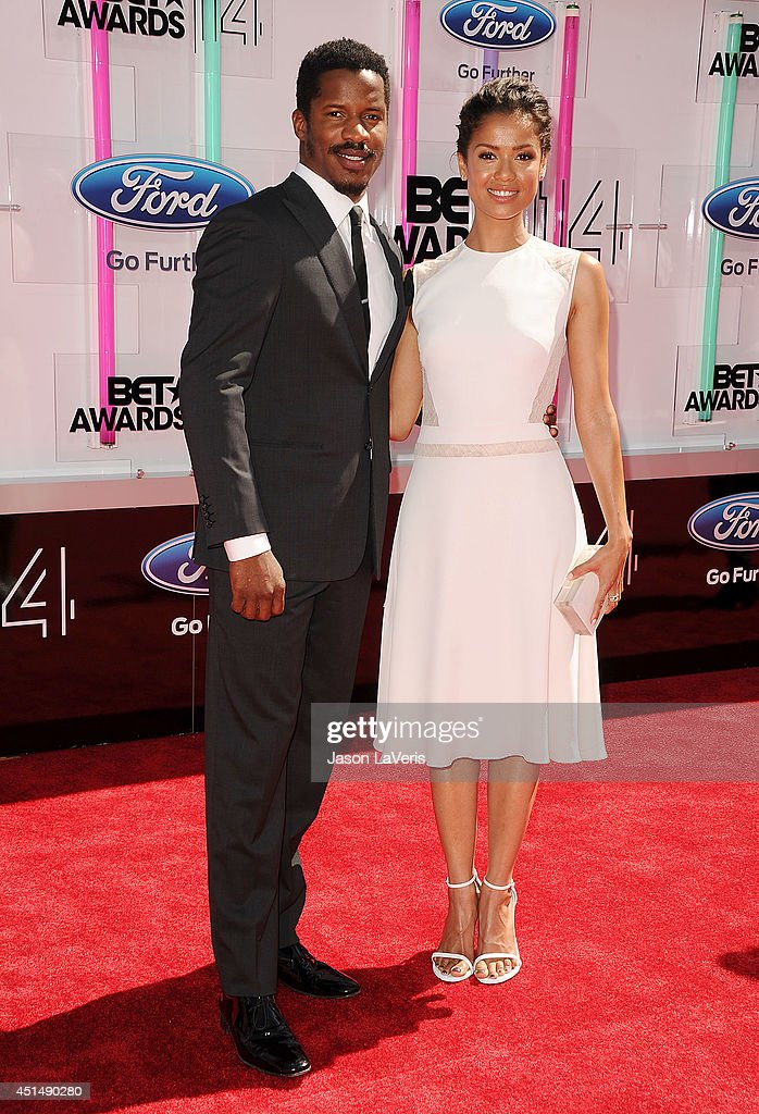 Nate Parker and Gugu MbathaRaw attend the 2014 BET Awards at Nokia Plaza LA LIVE on June 29 2014 in Los Angeles California