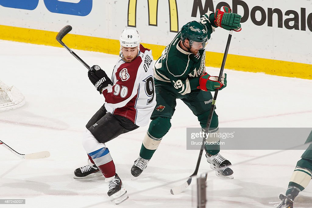 Nate Prosser #39 of the Minnesota Wild defends against Ryan O'Reilly #90 of the Colorado Avalanche during Game Six of the First Round of the 2014 Stanley Cup Playoffs on April 28, 2014 at the Xcel Energy Center in St. Paul, Minnesota.