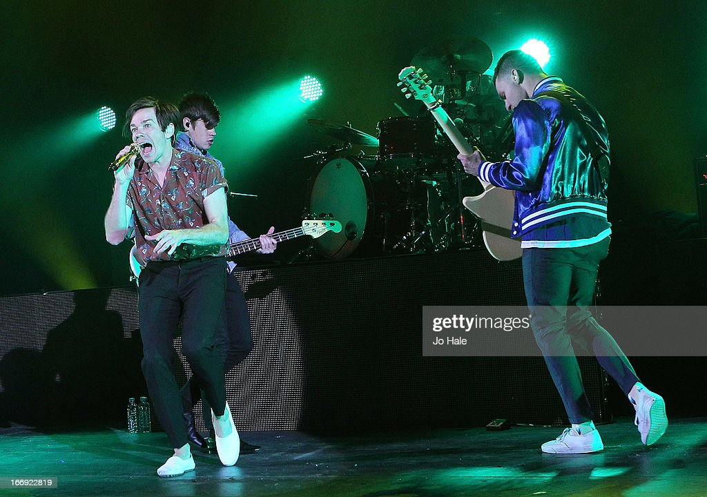 Nate Reuss and Andrew Dost of Fun perform on stage at Hammersmith Apollo on April 18 2013 in London England