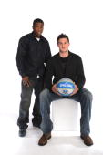 Nate Robinson and Danilo Gallinari of the New York Knicks pose for a portrait during the 2010 NBAE Circuit as part of the 2010 NBA AllStar Weekend on...