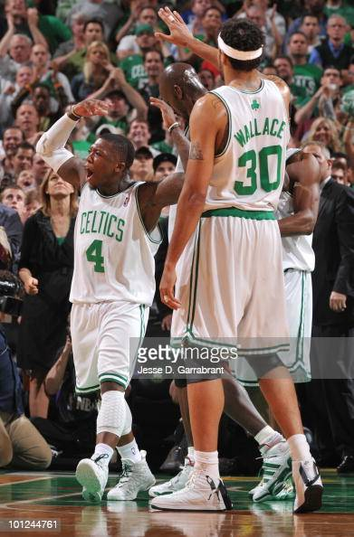 Nate Robinson and Rasheed Wallace of the Boston Celtics celebrate against the Orlando Magic in Game Six of the Eastern Conference Finals during the...