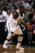 Nate Robinson of the Boston Celtics celebrates after he scored a basket in the second quarter against the Orlando Magic in Game Six of the Eastern...