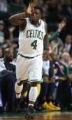 Nate Robinson of the Boston Celtics celebrates his three point basket in the second half against the Denver Nuggets on December 8 2010 at the TD...