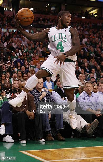 Nate Robinson of the Boston Celtics keeps the ball in bounds in the fourth quarter against the Washington Wizards on March 7 2010 at the TD Garden in...