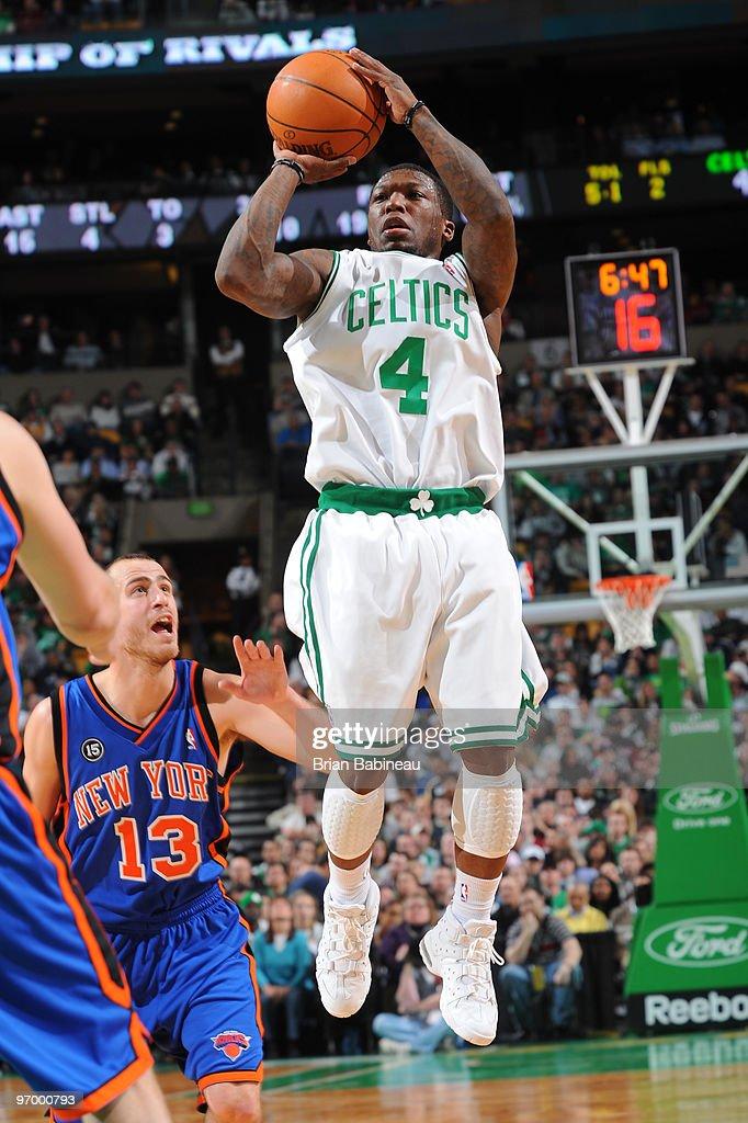 e15e9f116c7 ... New York Knicks v Boston Celtics. Nate Robinson 4 of the Boston Celtics  pulls up