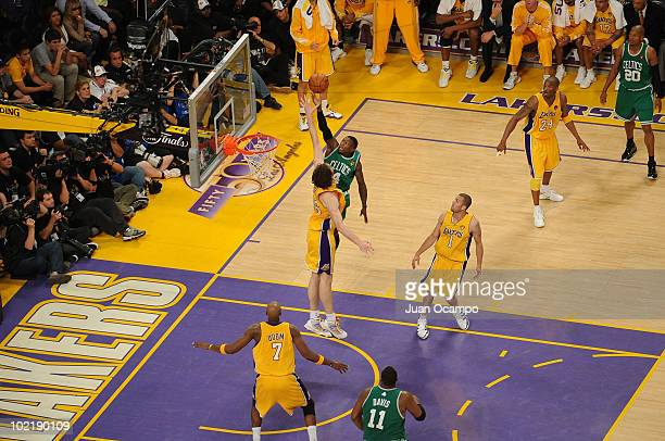 Nate Robinson of the Boston Celtics shoots against Pau Gasol of the Los Angeles Lakers in Game Seven of the 2010 NBA Finals on June 17 2010 at...