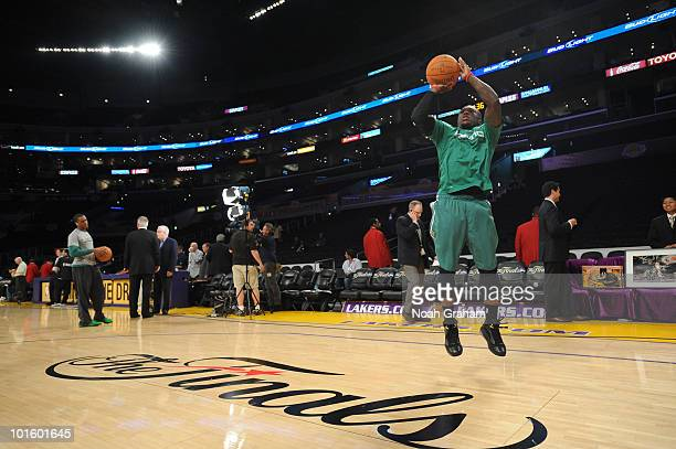 Nate Robinson of the Boston Celtics warms up before taking on the Los Angeles Lakers in Game One of the 2010 NBA Finals on June 3 2010 at Staples...