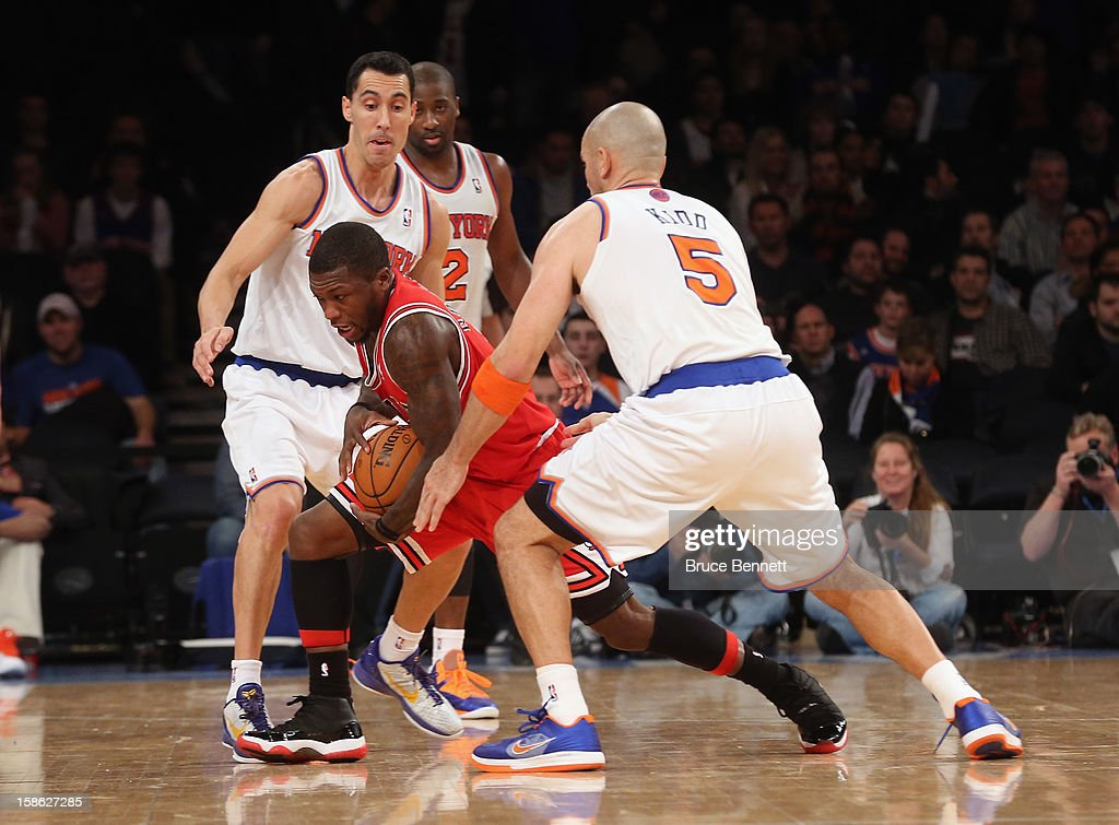 Nate Robinson #2 of the Chicago Bulls carries the ball against the New York Knicks at Madison Square Garden on December 21, 2012 in New York City.