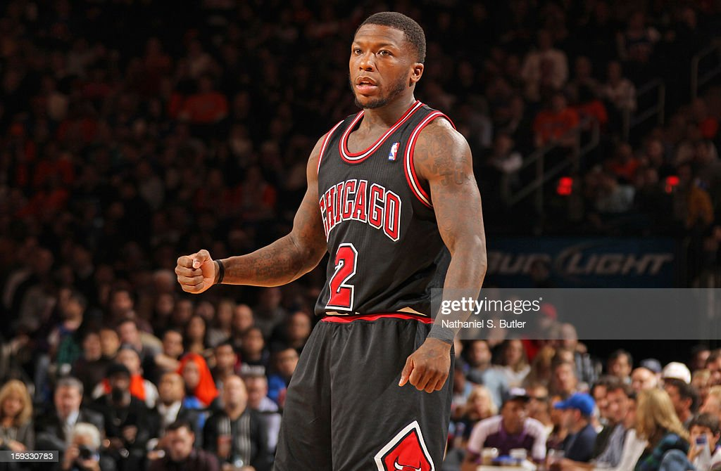 Nate Robinson #2 of the Chicago Bulls celebrates a shot in a game against the New York Knicks on January 11, 2013 at Madison Square Garden in New York City.