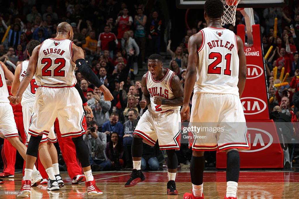 Nate Robinson #2 of the Chicago Bulls celebrates after a shot against the Detroit Pistons on January 23, 2012 at the United Center in Chicago, Illinois.