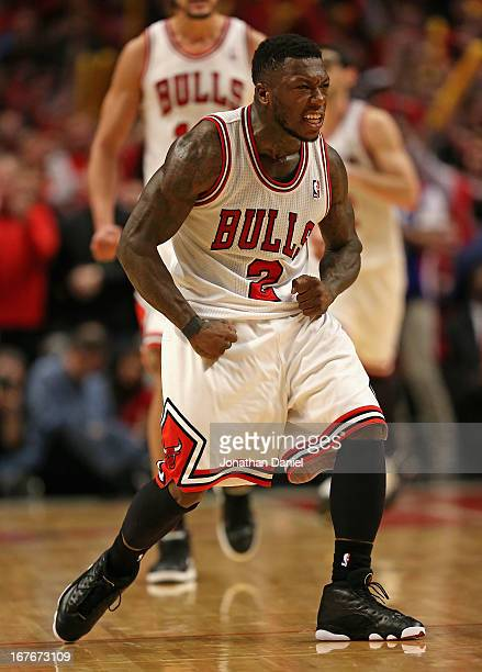 Nate Robinson of the Chicago Bulls celebrates after hitting a shot against the Brooklyn Nets in Game Five of the Eastern Conference Quarterfinals in...