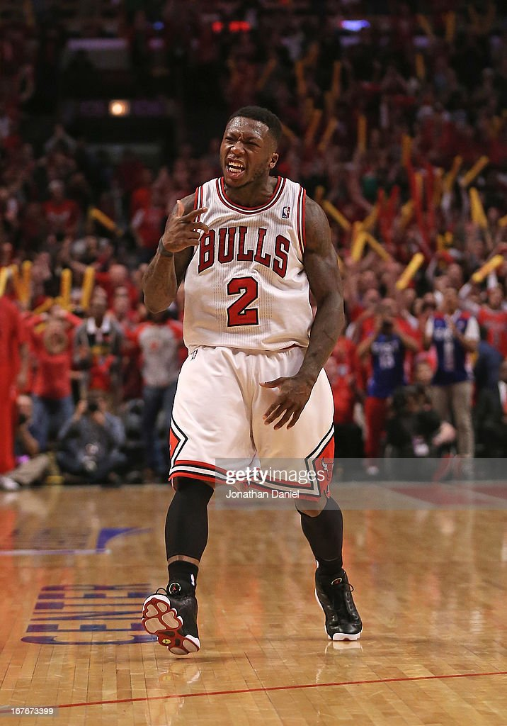 Nate Robinson #2 of the Chicago Bulls celebrates after hitting a shot against the Brooklyn Nets in Game Five of the Eastern Conference Quarterfinals in the 2013 NBA Playoffs at the United Center on April 27, 2013 in Chicago, Illinois. The Bulls defeated the Nets 142-134 in triple overtime.