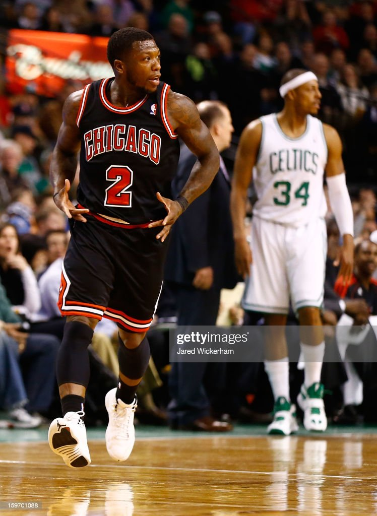 Nate Robinson #2 of the Chicago Bulls celebrates after making a shot against the Boston Celtics during the game on January 18, 2013 at TD Garden in Boston, Massachusetts.