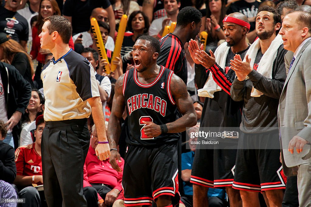 Nate Robinson #2 of the Chicago Bulls celebrates during his team's game against the Miami Heat on January 4, 2013 at American Airlines Arena in Miami, Florida.