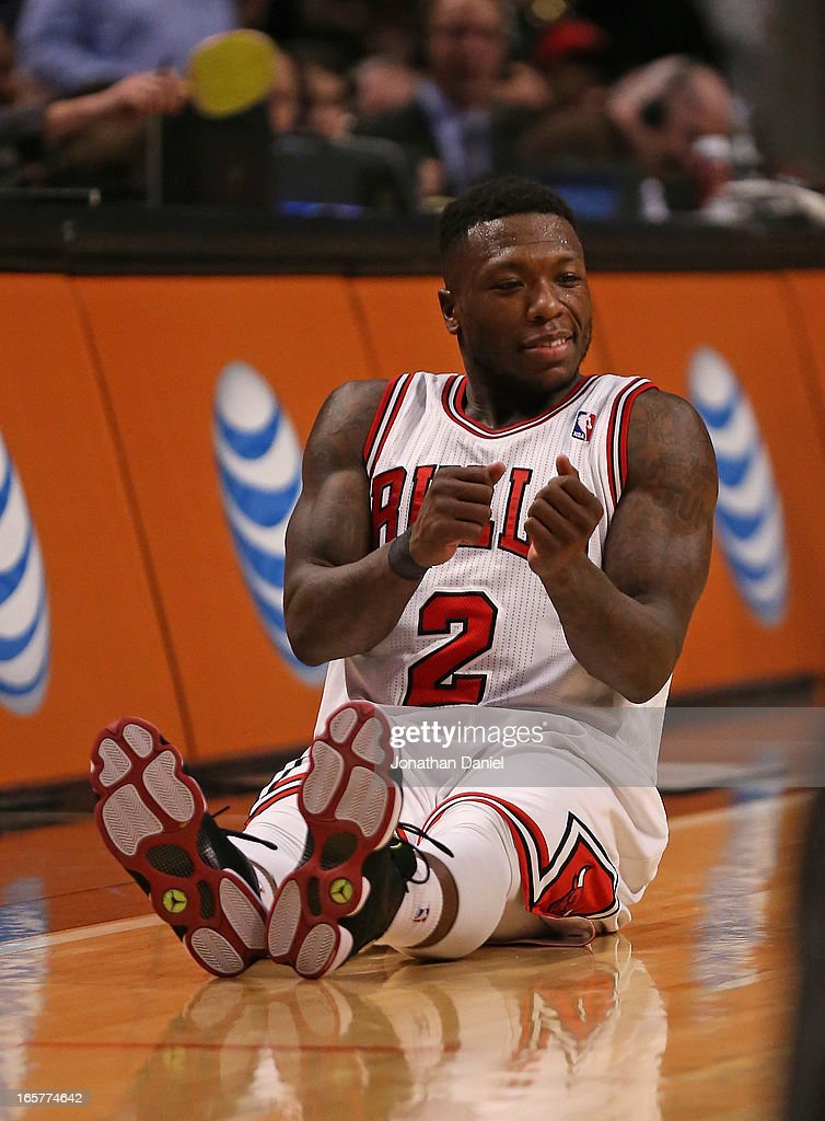 <a gi-track='captionPersonalityLinkClicked' href=/galleries/search?phrase=Nate+Robinson&family=editorial&specificpeople=208906 ng-click='$event.stopPropagation()'>Nate Robinson</a> #2 of the Chicago Bulls celebrates hitting a three-point shot against the Orlando Magic at the United Center on April 5, 2013 in Chicago, Illinois. The Bulls defeated the Magic 87-86.