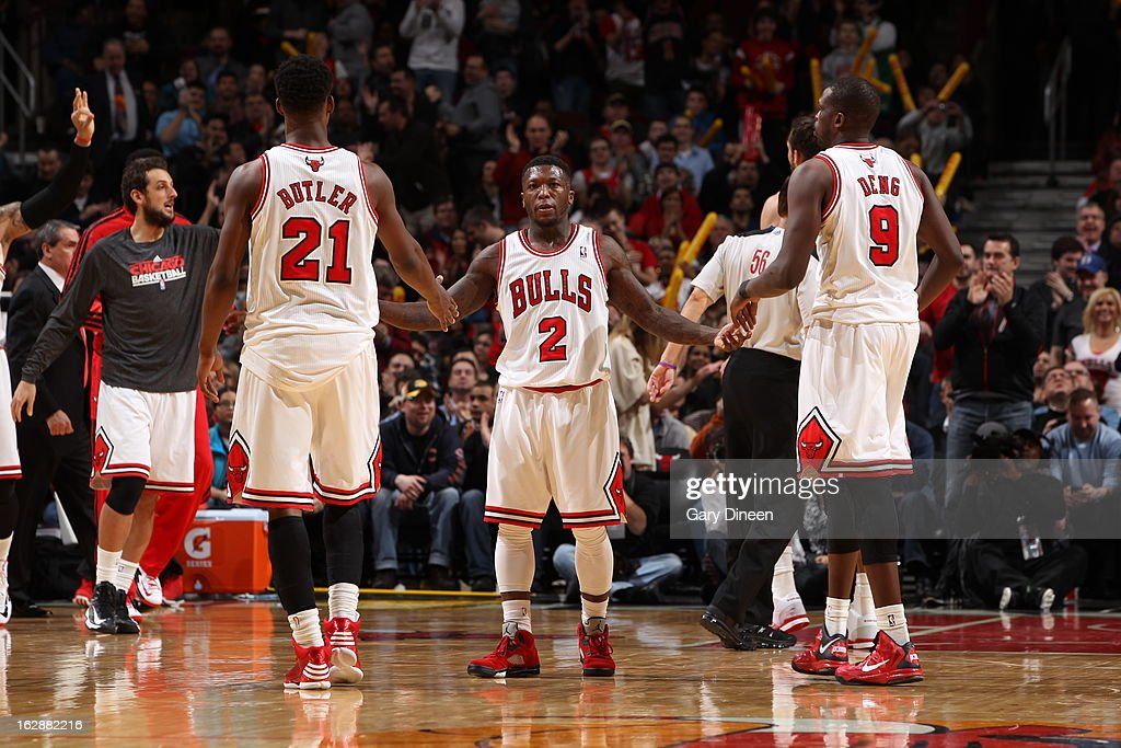 Nate Robinson #2 of the Chicago Bulls congradulates his teammates against the Philadelphia 76ers on February 28, 2013 at the United Center in Chicago, Illinois.