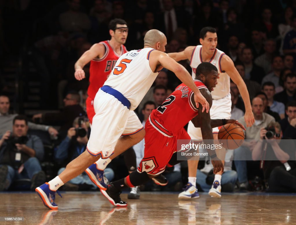 Nate Robinson #2 of the Chicago Bulls dribbles the ball against the New York Knicks at Madison Square Garden on December 21, 2012 in New York City.