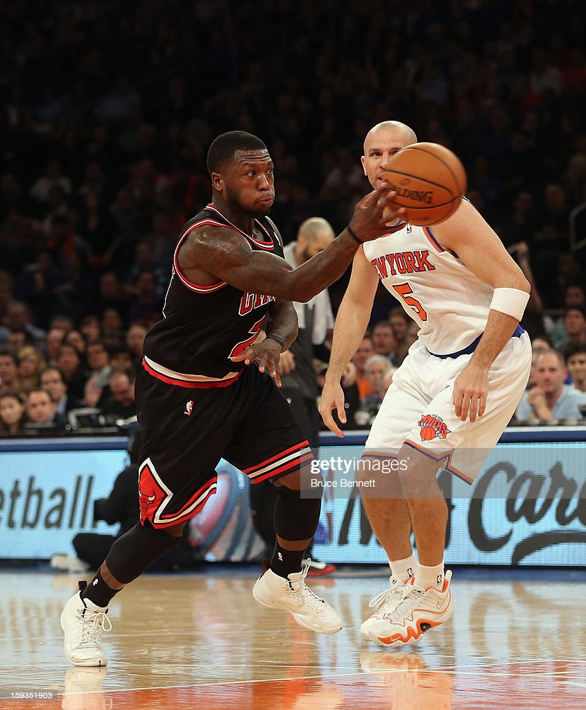 Nate Robinson #2 of the Chicago Bulls dribbles the ball against the New York Knicks at Madison Square Garden on January 11, 2013 in New York City.